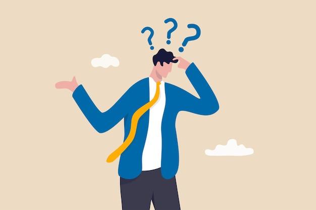 Geheugenverlies, dingen vergeten om te doen of dementie kan zich niets herinneren, verwarrend hersenprobleem of cognitief ziekteconcept, verwarde zakenman die moeite heeft om geheugen te verliezen, denkend aan wat hij vergeet.