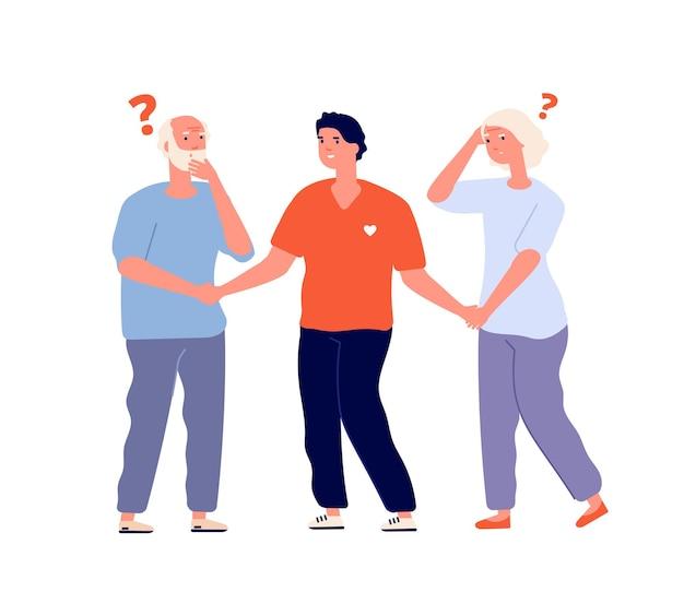 Geheugenverlies. oudere dementie, de ziekte van alzheimer
