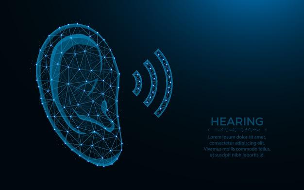 Gehoor laag poly-ontwerp, menselijk oor draadframe mesh veelhoekige illustratie gemaakt van punten en lijnen op donkerblauw