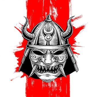 Gehoornde samurai oorlog helm illustratie