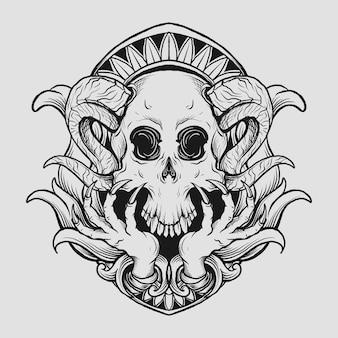 Gehoornde schedel gravure ornament