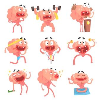 Gehumaniseerd hersenen stripfiguur met armen en benen grappige scènes van het leven en emoties collectie van illustraties
