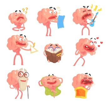 Gehumaniseerd hersenen stripfiguur met armen en benen grappige scènes van het leven en emoties set van illustraties