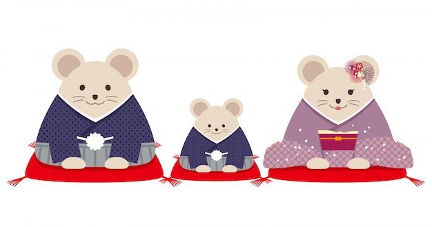 Geïdentificeerde rattenfamilie gekleed in japanse kimono. vector illustratie geïsoleerd op een witte achtergrond.