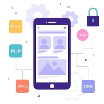 Geïllustreerd app-ontwikkelingsconcept met programmeertalen