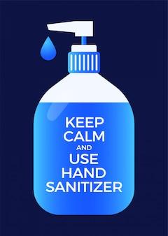 Geïllustreerd blijf kalm en gebruik handdesinfecterend middel om te beschermen tegen virussen.