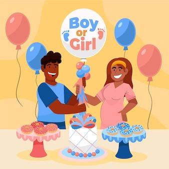 Geïllustreerd cartoon gender reveal concept