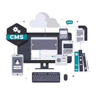 Geïllustreerd cms-concept in plat ontwerp