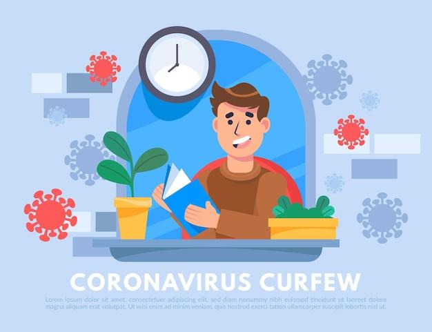 Geïllustreerd coronavirus-avondklokconcept