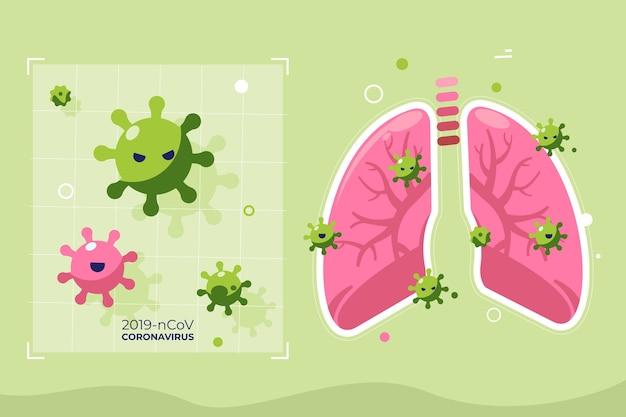 Geïllustreerd coronavirusconcept in longen