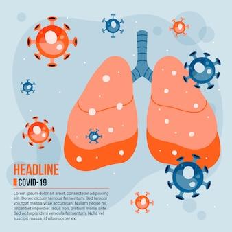 Geïllustreerd coronavirusconcept met geïnfecteerde longen