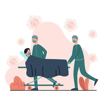 Geïllustreerd coronavirusconcept met patiënt in kritieke toestand
