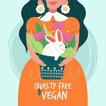 Geïllustreerd dierproefvrij en veganistisch concept