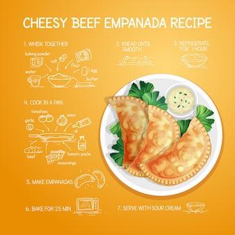 Geïllustreerd empanada-recept met details