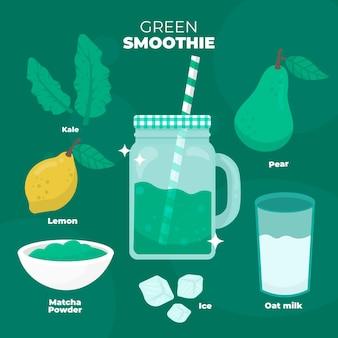 Geïllustreerd gezond smoothierecept