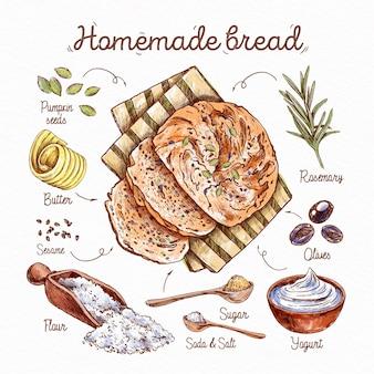 Geïllustreerd heerlijk zelfgemaakt broodrecept