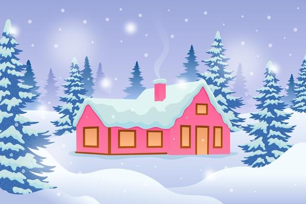 Geïllustreerd huis met sneeuw