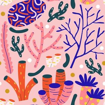 Geïllustreerd kleurrijk koraalpatroon