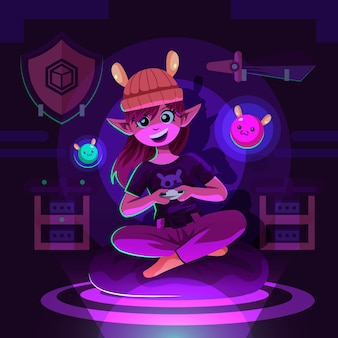 Geïllustreerd meisjeskarakter dat videospelletjes speelt