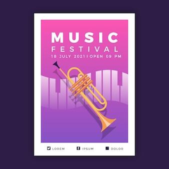 Geïllustreerd muziekevenement in 2021 postersjabloon