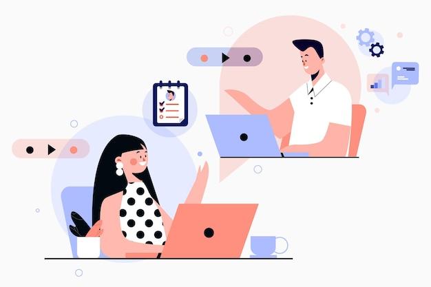Geïllustreerd online sollicitatiegesprek