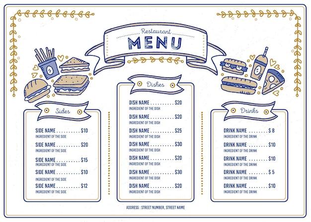 Geïllustreerd restaurantmenu voor digitaal platform in horizontaal formaat