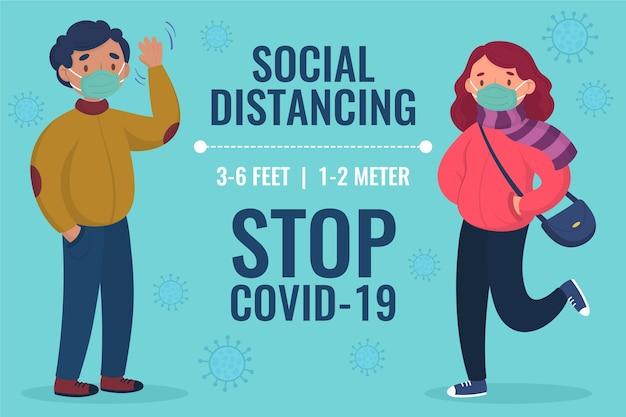 Geïllustreerd sociaal afstandsconcept
