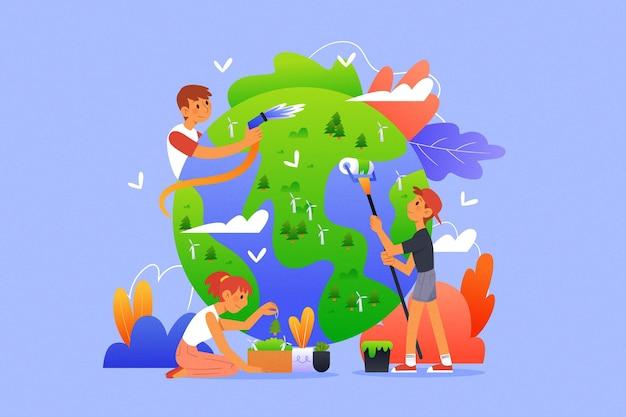 Geïllustreerd sparen het ontwerp van de planeet