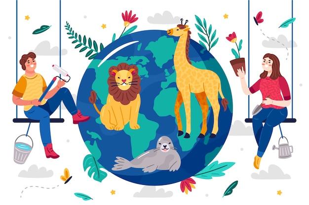 Geïllustreerd sparen het planeetconcept
