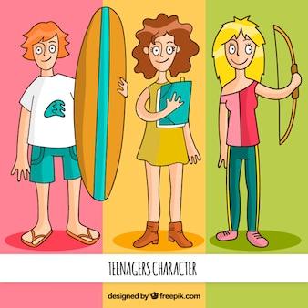 Geïllustreerd tiener karakters