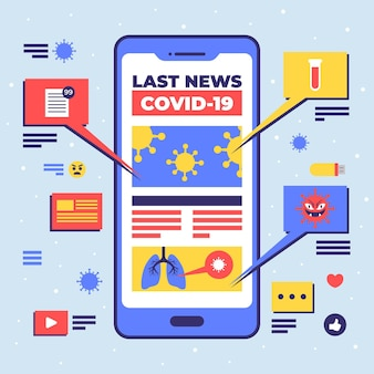 Geïllustreerd updateconcept voor coronavirus op smartphone