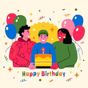 Geïllustreerd verjaardagsfeestje