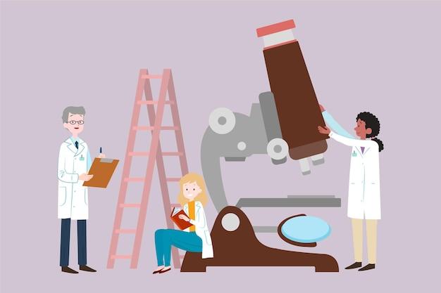 Geïllustreerd wetenschapsconcept met microscoop