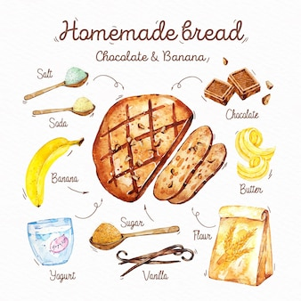 Geïllustreerd zelfgebakken broodrecept