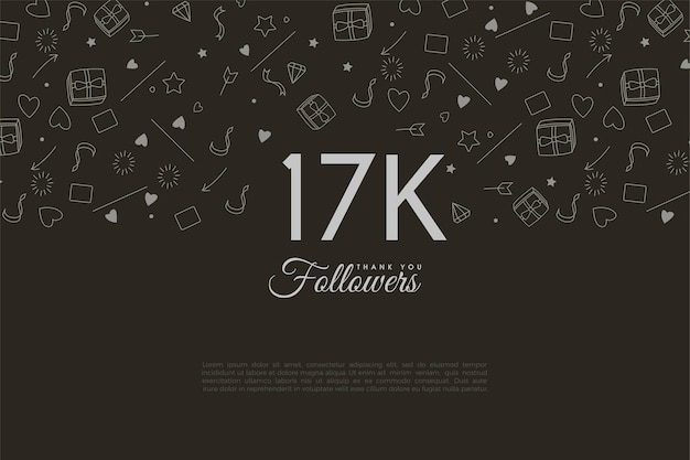 Geïllustreerde achtergronden voor dankbaarheid aan 17.000 volgers