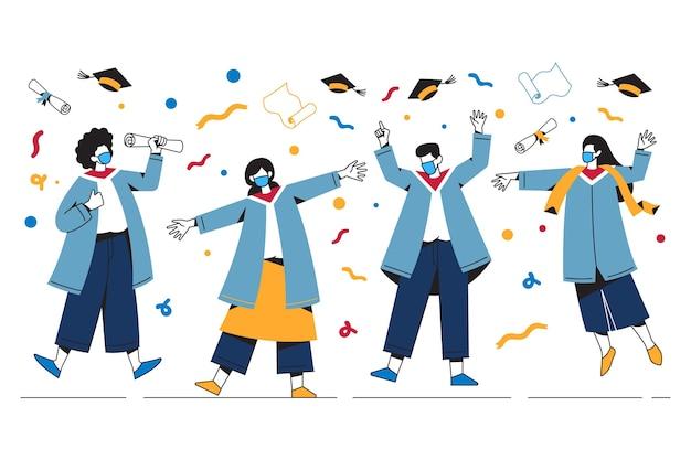Geïllustreerde afgestudeerden die medische maskers dragen tijdens hun ceremonie