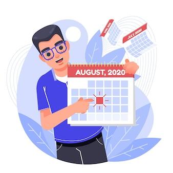 Geïllustreerde afspraakreservering op kalender