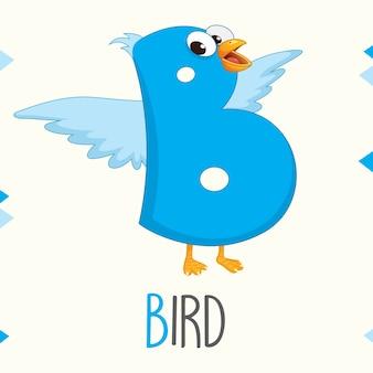 Geïllustreerde alfabetbrief b en vogel