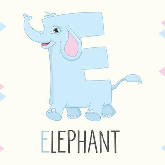 Geïllustreerde alfabetbrief e en olifant