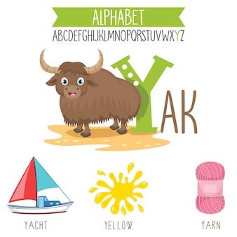 Geïllustreerde alfabetbrief en beeldverhaalvoorwerpen