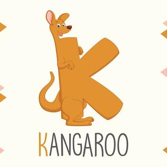 Geïllustreerde alfabetbrief k en kangoeroe