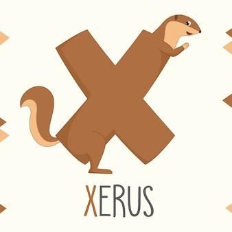 Geïllustreerde alfabetbrief x en xerus
