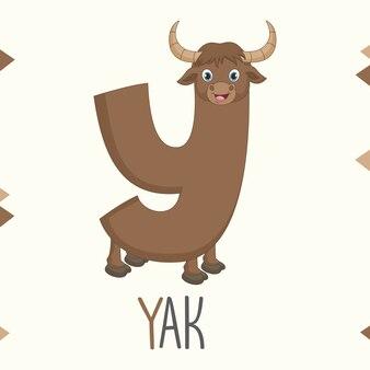 Geïllustreerde alfabetbrief y en yak