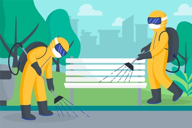 Geïllustreerde arbeiders die schoonmaakdienst verlenen in openbare ruimtes