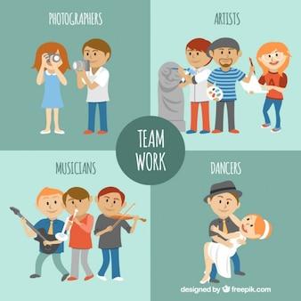 Geïllustreerde artistieke teamwork