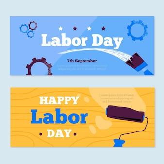 Geïllustreerde banners voor arbeidsdagevenement