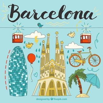 Geïllustreerde barcelona elementen