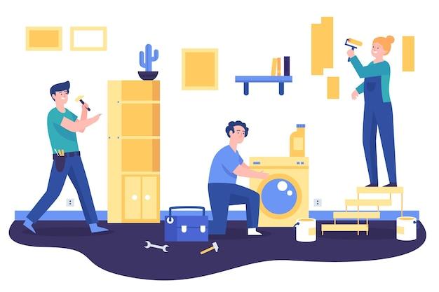 Geïllustreerde beroepen voor huishouden en renovatie