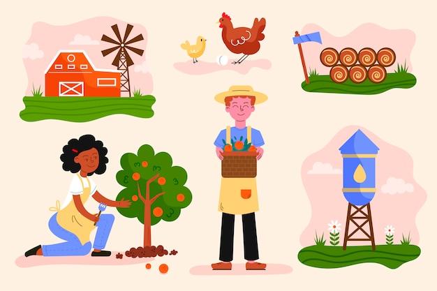 Geïllustreerde biologische landbouw concept