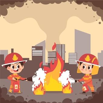 Geïllustreerde brandweerlieden die een brand blussen